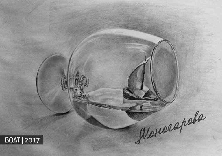 Small boat in glass