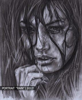 Дождь девушка портрет на заказ